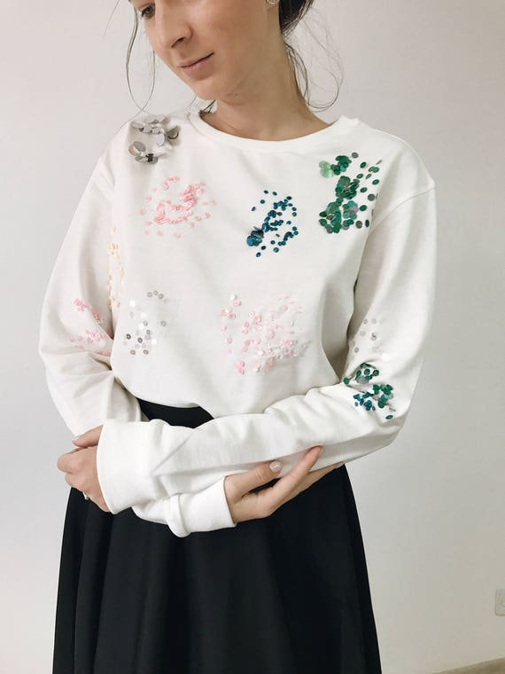 Sequins Embroidered Women's Sweatshirt, Paillettes sweater, Ivory sweater, gift for her, Ugly Christmas Festive Sweater