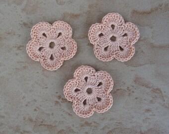 set of 3 salmon flower 5 petals crochet