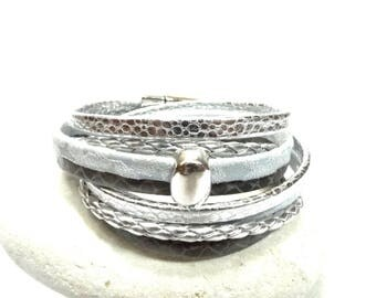 White and grey double wrap leather Cuff Bracelet