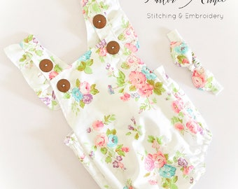 Baby girl floral romper, newborn, toddler