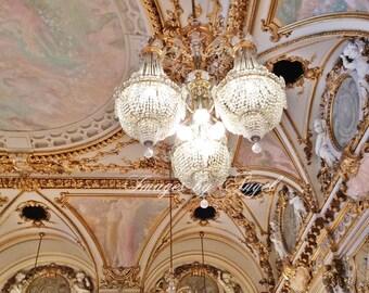 Paris Chandeliers Fine Art Photo JPG Download or Custom Art Print, Printable Art, Paris France Wall Art, Musée d'Orsay Ballroom, Photo Stock