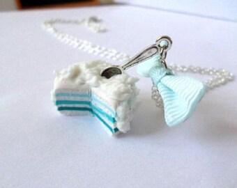 Polymer clay blue Rainbow cake necklace