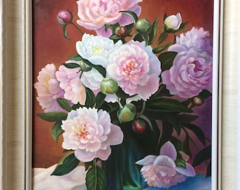 Peony-romantic, pink flowers, oil painting on canvas,framed