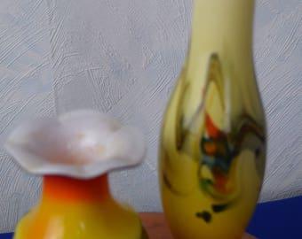 2 Stück Glasvasen 60ziger/70ziger Jahre, mundgeblasen, wahrscheinlich Murano