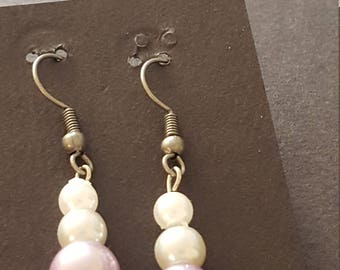 Earrings - Drop, Lilac and White
