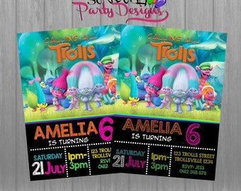 Trolls Birthday Invitation, Trolls Invitation, Troll Invitation Download, Trolls Party, Trolls Invites, Trolls