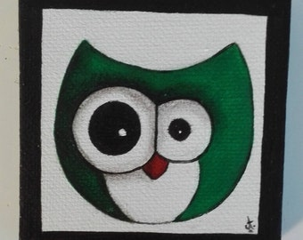 Magnet mini magnetic canvas frame, green OWL
