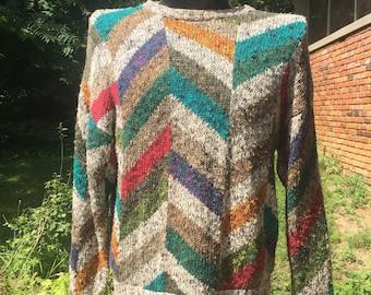 80s Boston Traders multicolor geometric shape knit crew neck pullover sweater szM linen/cotton blend Limited Edition