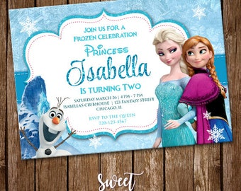 Frozen Invitation, Digital Printable Invite, Frozen Birthday Party, Frozen Customizable Card, Princess Party, Kids Birthday, SI-0013