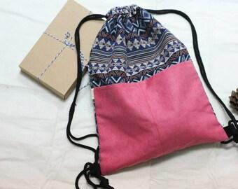 SALE* PINK Drawstring Backpack, Workout bag, Personalized bag, Gym bag, Swimming bag, Yoga bag, Beach bag, Backpack, Boho bag, String bag