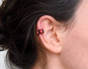 EAR CUFF black red and gold woven with Miyuki Delicas beads