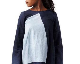 Colour block, Navy blue and sky blue. Designer original, One of a kind.