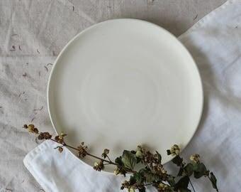 Chalk lunch plate - satin matt white plate - hand made pottery - hand thrown plate - tableware - dinnerset - medium plate - ceramics