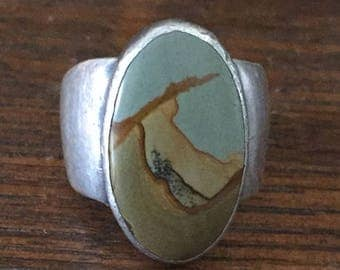 Large Agate Stone Ring w/ Engraving Inside