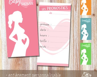 Card birth predictions, baby shower customizable {to print yourself}
