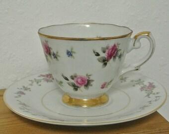 Pink Rose Teacup and Saucer Set