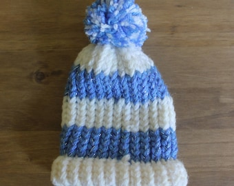 Blue & White Knitted Baby Hat