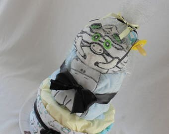 2 floors Zebra theme diaper cake