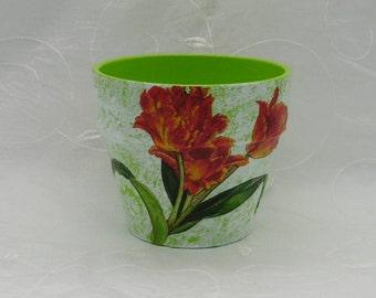 "Handmade PLANTER ceramic ""The tulips"" Decoration"