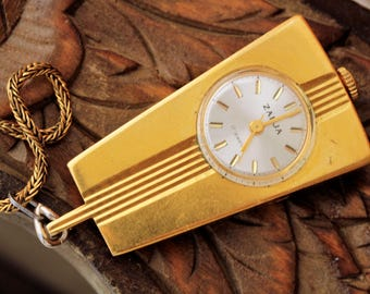 ZARJA Necklace Watch Mechanical Soviet  Serviced Made in USSR 17 jewels
