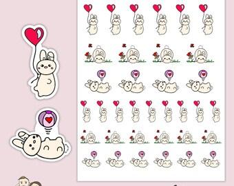 BUNCH of VALENTINES Day Love Rabbit Planner Stickers for Erin Condren, Happy Planner, ECLP, Filofax, Kikki K, Tn's - S83