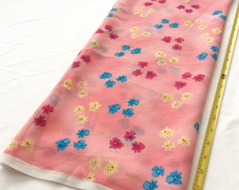 "2 yards & 24 inch length of shear crape, pink, yellow, magenta, blue, floral print. 44"" wide"