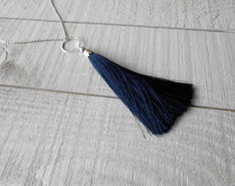 Silver tone necklace, maxi Navy Blue Pompom
