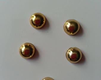 lot de 5 demi perles couleur doré   10mm