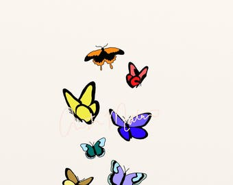 flying butterflies print