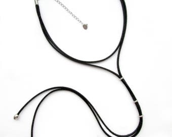 Black Long choker - necklace with silver elements