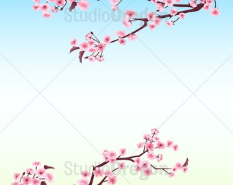 Cherry Blossoms, Frame, Border Art, Asian, Japanese Style, Pink Flower Blossoms, Branches, Springtime, Graphic Art Download, clip art