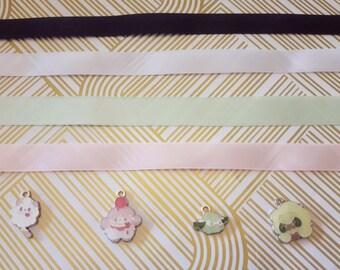 Swirlix / Slurpuff / Cottonee / Whimsicott Fairy Type Pokemon Choker Necklace gold