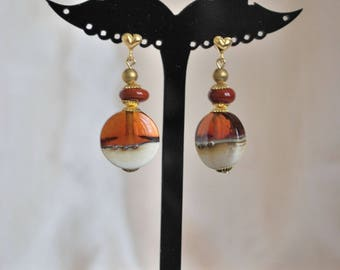 "Earrings ""amber and ivory""."