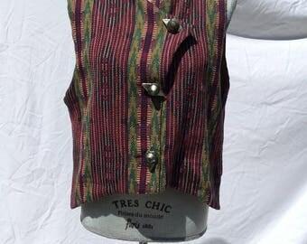 Vintage 1990's Tribal Boho Vest Jacket Tapestry