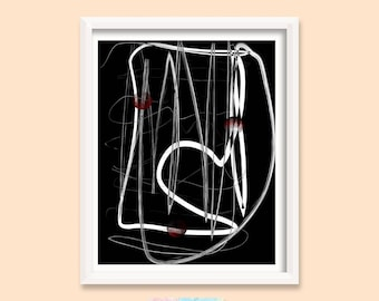 Abstract Art Print, Printable Art, Artwork Wall Decor, 12X16 Abstract, Painting Original, Black and White Print, Digital Print | M0033