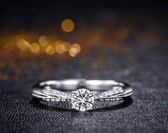 Round Diamond Engagement Ring 14k White Gold or Yellow Gold or Rose Gold Diamond Ring Milgrain Proposal Ring Anniversary Ring