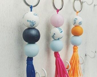 Clay Tassel Keychain | Fish Bead