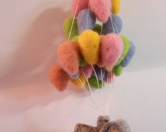 Needle felt 'up' house mobile - mobile - up house- balloon- mobile - one of a kind - gift item - baby shower - new baby gift