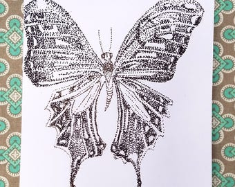 Butterfly Pointillism Greeting Card (animal greeting card - animal card - blank card - blank greeting card - greeting card - butterfly)