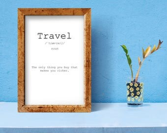 Travel definition, travel quote, definition printable, travel art, word definition, meaning poster, definition poster, modern definition