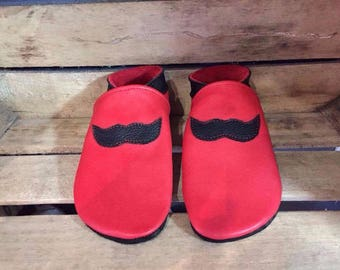 Leather - multiple colors and sizes available adult mustache shoes