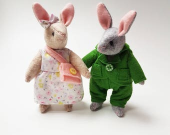 Mini Rabbits Soft Toys Couple / Bunny couple / Articulated Dolls / Handmade Plushies / Stuffed Animals