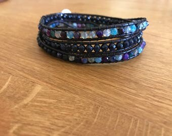 Leather Beaded blue wrap