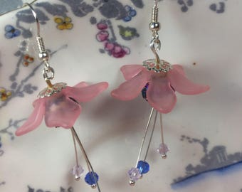 Beautiful boho chic silver plated, pink lucite harebell earrings with multicoloured bead centres and drop Swarovski bicones.