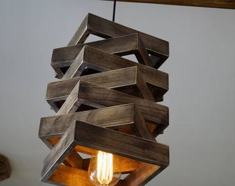 GRINA - Unique pendant light, wood lamp, hanging lamp, wood chandelier, pendant lights, wood pendant, handmade lamp