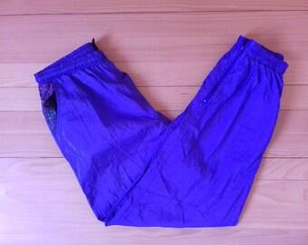 1990s Vintage Sweatpants Tracksuit Purple Color Nylon Material / Hip Hop / Rap / Hippie / 90s 80s Adidas Nike Kappa Puma  Hilfiger