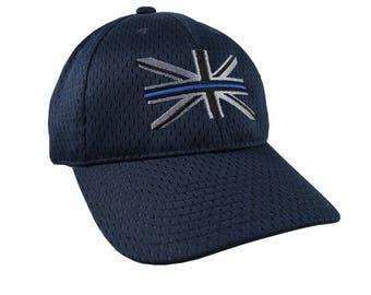 The Thin Blue Line Symbolic on the Union Jack UK Flag Embroidery on an Adjustable Fashion Stylish Structured Navy Blue Full Fit Baseball Cap