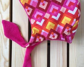 Winter Baby Bonnet / Baby Winter Hat / Warm Hat / Toddler Winter Hat / Fleece Hat / Pink Hat / Baby Gift