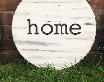 Round Home sign
