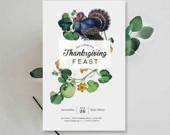 INSTANT DOWNLOAD - Editable Thanksgiving Invitation